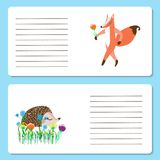Baby cards with cute Fox and hedgehog animals, greeting cards or. Invitation cards, vector illustration vector illustration