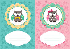Baby cards with cute owlets. Baby-boy and baby-girl cards with cute owlets. Some blank space for your text included stock illustration