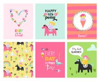 Baby Cards with Hand Drawn Girls on Ponies. Childish Posters for Children Party Decoration. Vector illustration royalty free illustration