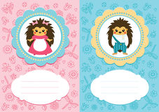 Baby cards with hedgehogs Royalty Free Stock Photography