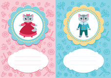 Baby cards with kittens. Baby-girl and baby-boy cards with cute kittens. Some blank space for your text included royalty free illustration