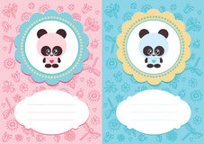 Baby cards with panda. Baby-girl and baby-boy cards with cute panda. Some blank space for your text included vector illustration