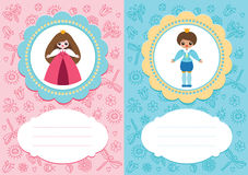 Baby cards with prince and princess. Baby-girl and baby-boy cards with cute prince and princess. Some blank space for your text included vector illustration