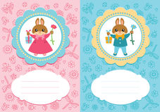 Baby cards with rabbits. Baby-girl and baby-boy cards with cute rabbits. Some blank space for your text included royalty free illustration