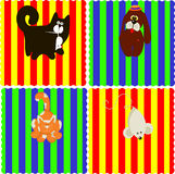 0116_11 baby cards set. Assorted Baby Cards Set animal stock illustration