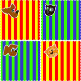0116_31 baby cards set. Assorted Baby Cards Set striped and funny stock illustration