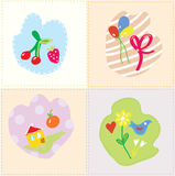 Baby cards set - cut design. With kids drawing Royalty Free Stock Photos