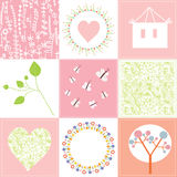 Baby cards set cute design with patterns. In pink royalty free illustration