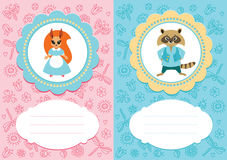 Baby cards with squirrel and raccoon. Baby-girl and baby-boy cards with cute little animals: squirrel and raccoon. Some blank space for your text included stock illustration