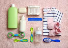 Baby care accessories and clothing on light background,. Top view stock photography