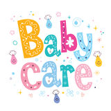 Baby care decorative lettering type design Stock Photos