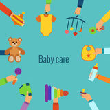 Baby care flat concept Royalty Free Stock Photo