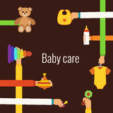Baby care flat concept Royalty Free Stock Photos