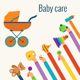 Baby care flat concept Stock Photography