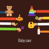 Baby care flat concept Stock Photos