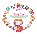 Baby Care frame Stock Photo