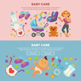Baby care and happy motherhood poster of mother and newborn child Royalty Free Stock Photography