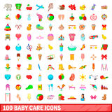 100 baby care icons set, cartoon style. 100 baby care icons set in cartoon style for any design vector illustration Stock Photos