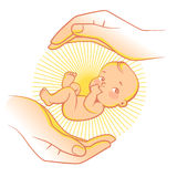 Baby care logo. Logo of baby care, family love, protection, pregnancy. Concept of protect child. Parent`s hands. Childbearing. Newborn baby in safety. Symbol of Stock Photos