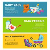 Baby care and newborn child motherhood web banners template flat design. Royalty Free Stock Photo