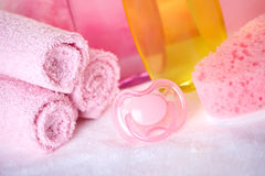 Baby care objects royalty free stock images