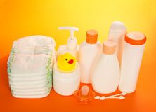 Baby care objects Royalty Free Stock Photography