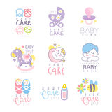 Baby care set for logo design, hand drawn vector Illustrations Royalty Free Stock Photos