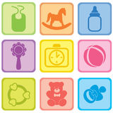Baby care set. Vector illustration of baby icons. Stock Image