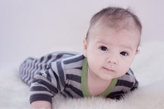 Baby on a carpet Stock Images