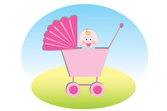 Baby in carriage Royalty Free Stock Image