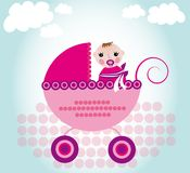Baby in carriage Royalty Free Stock Images