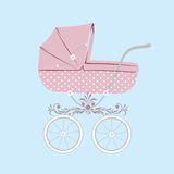 Baby carriage. Vector illustration of pink baby carriage for newborn girl. Vector illustration eps.10 Royalty Free Stock Photo