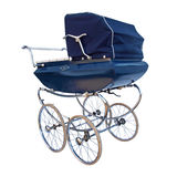 Baby carriage. Blue retro carriage isolated on white background Stock Image