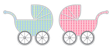 Baby Carriage. Boy and girl isolated baby carriages with cute gingham pattern Royalty Free Stock Photos