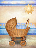 Baby carriage. Poster/ Card with vintage baby wicker carriage for boy in room Royalty Free Stock Photos