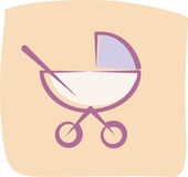 Baby-carriage. Free-hand drawing style Royalty Free Stock Image