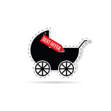 Baby carriage as label illustration. Baby carriage as label with best offer illustration Royalty Free Stock Image