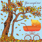 Baby carriage in the autumn background. Royalty Free Stock Images