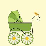 Baby Carriage  and bird. Baby Carriage  / pram and bird  gender netural colors (pattern on birds wing Stock Photo