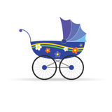 Baby carriage in blue color vector illustration Royalty Free Stock Photo