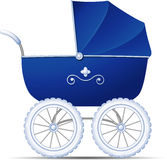 Baby Carriage. Blue Baby Carriage over white. EPS 10 Royalty Free Stock Image
