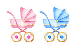 Baby carriage. Boys and girls carriages. Kids accessories. Watercolor illustration Stock Image