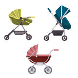 Baby carriage or buggy, folding stroller icons Royalty Free Stock Photos
