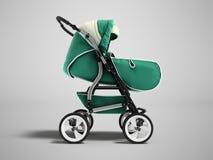 Modern baby stroller dark green spring autumn winter green front royalty free illustration