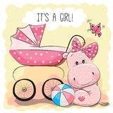 Baby carriage and hippo. Greeting card it is a girl with baby carriage and hippo Stock Photography
