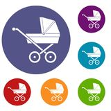Baby carriage icons set Royalty Free Stock Images