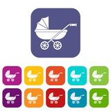 Baby carriage icons set flat Stock Images