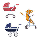 Baby carriage or infant, child wagon design. Set of baby or infant carriage or child wagon design, perambulator or pram icon,  buggy with wheels, newborn cradle Stock Images