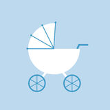 Baby carriage. Baby carriage isolated on blue. Flat vector illustration Stock Image