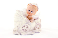 Baby in carriage, isolated on white Stock Image